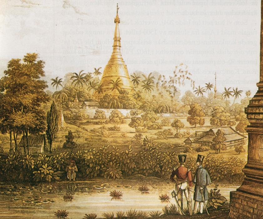 Gran Pagoda de Dagón en 1825, litografía de una ilustración realizada por el teniente Joseph Moore del 89º Regimiento de la Reina y publicada en 1825-1826. (Public Domain)