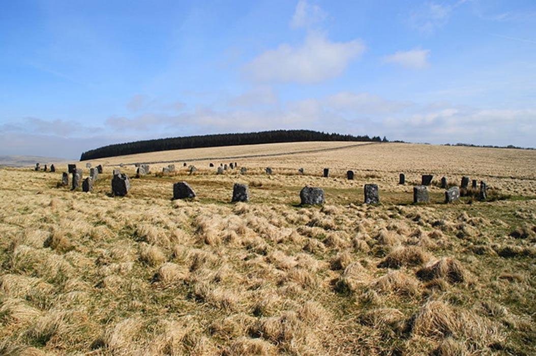 Grey Wethers: dos círculos de piedras de Dartmoor. Vista de ambos círculos desde el sur. (Herby/CC BY SA 4.0)