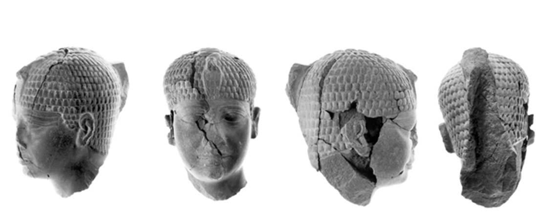 Las grietas presentes en la escultura de la cabeza del faraón son evidentes en estas fotos. (Gaby Laron / Universidad Hebrea / Fundación Selz: Excavaciones en memoria de Yigael Yadin)