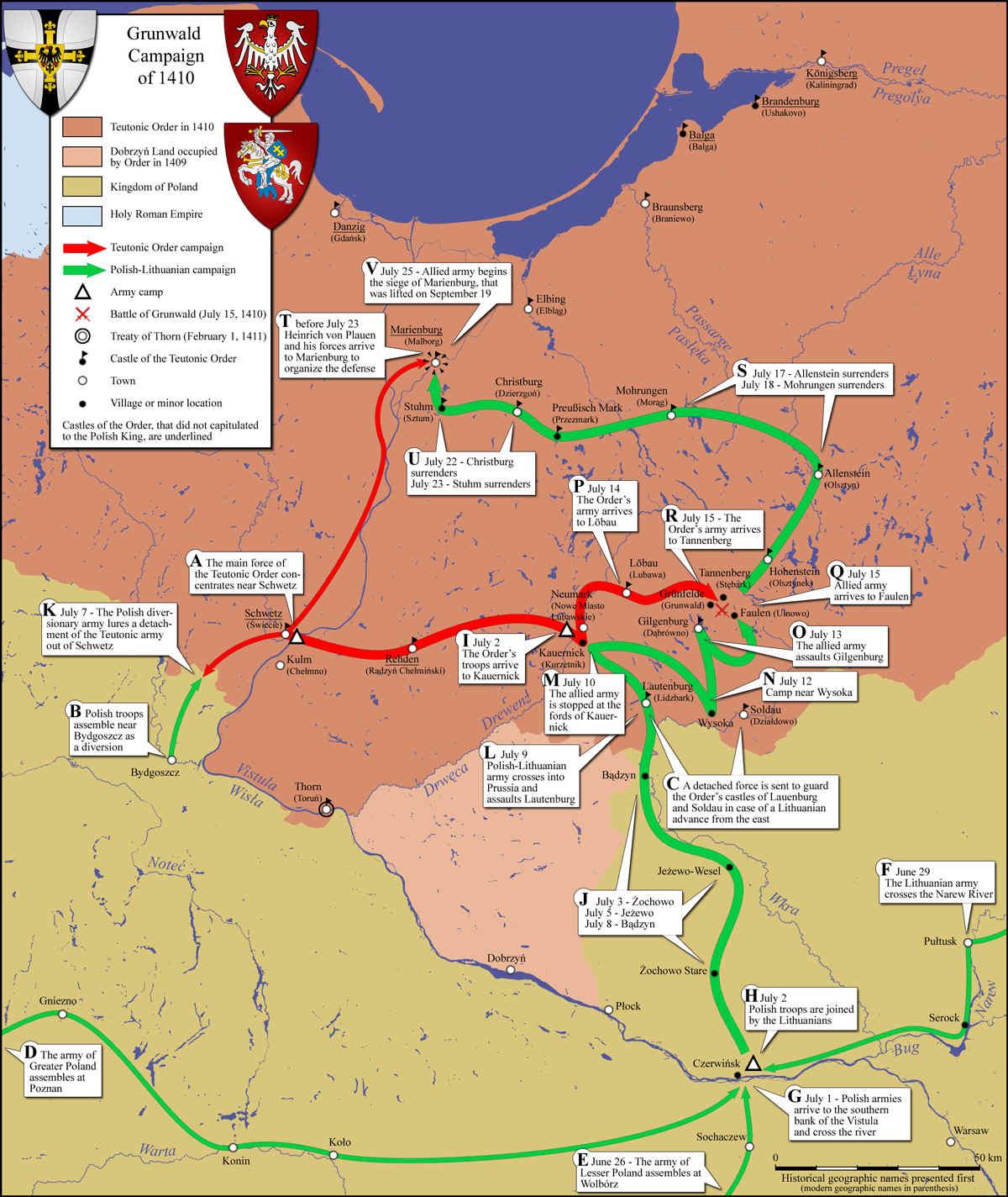 Mapa de los movimientos de los ejércitos en la campaña de Grunwald. En rojo, las fuerzas teutónicas. En verde, el ejército polaco-lituano. (CC BY-SA 3.0)
