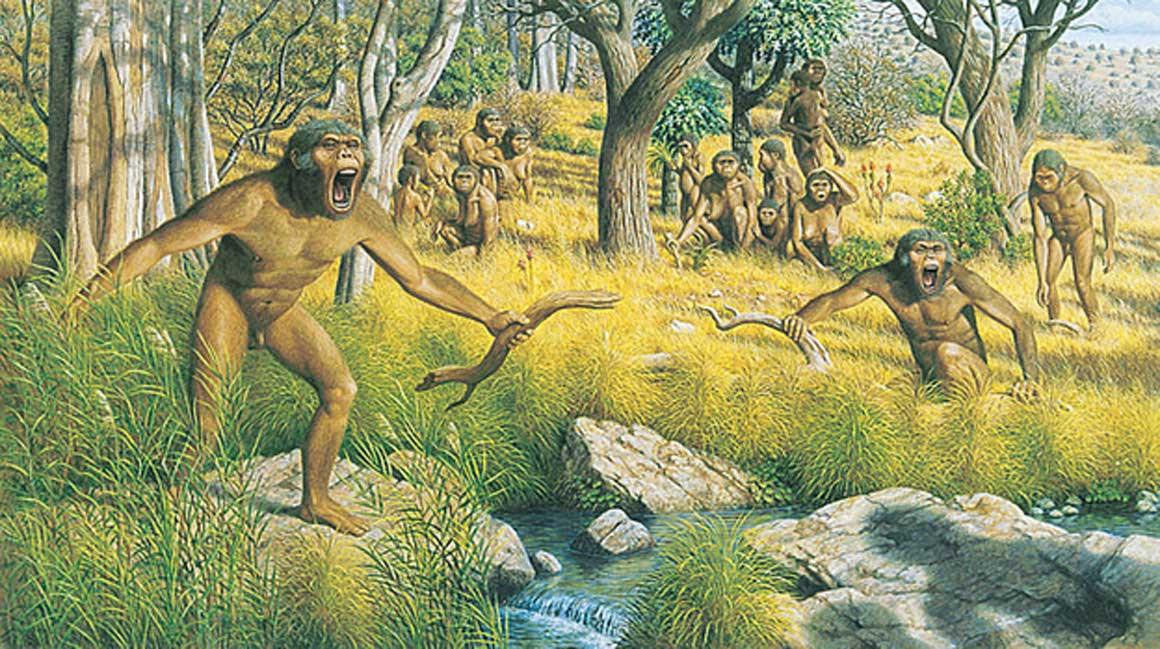 Representación artística de un grupo de Australopithecus. (Dominio público)