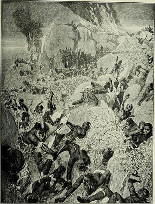 Sudáfrica y la Guerra del Transvaal (1900). Incursión Matabele en Mashonalandia, dibujo de W. Small. (Dominio público)