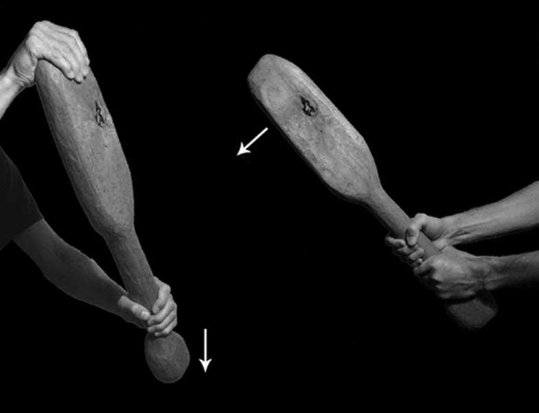 Posiciones de manos utilizadas para administrar los dos tipos de golpe: izquierda) golpe de pomo; derecha) golpe a dos manos. Las flechas indican la dirección del movimiento. (Meaghan Dyer)