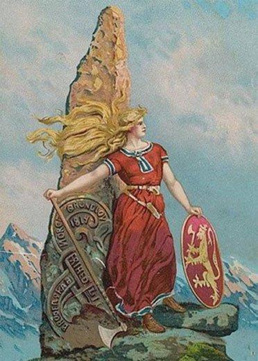 Ilustración romántica de una mujer vikinga realizada en 1905 por Andreas Bloch. (Dominio público)