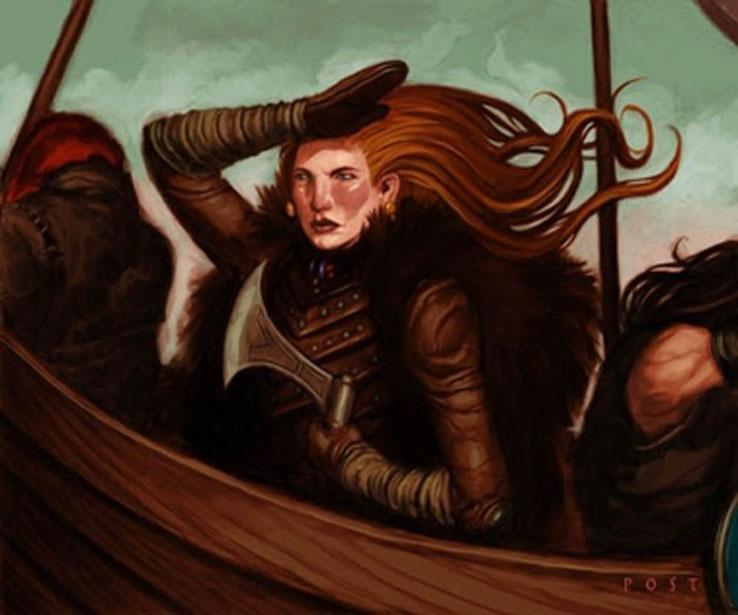 Representación artística de una mujer guerrera de la Edad Vikinga a bordo de un barco. (Women in History)