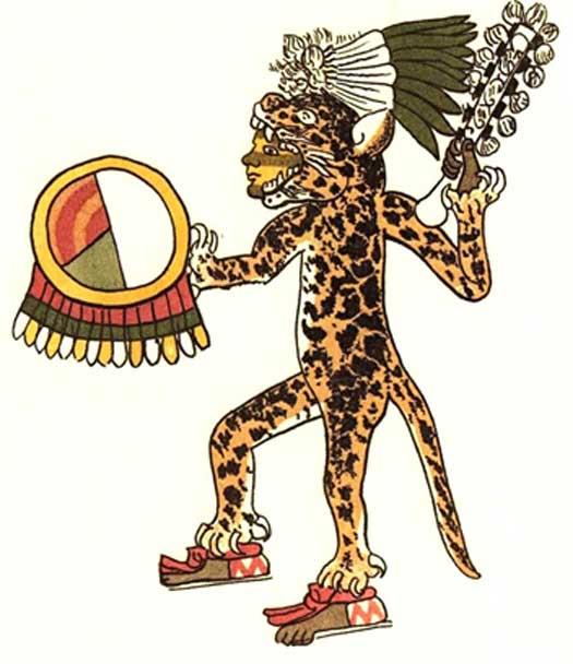 Guerrero jaguar. Ilustración del Códice Magliabecchiano (Dominio público)