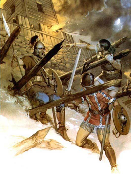 Guerreros celtíberos atacan una fortificación romana. (weaponsandwarfare)
