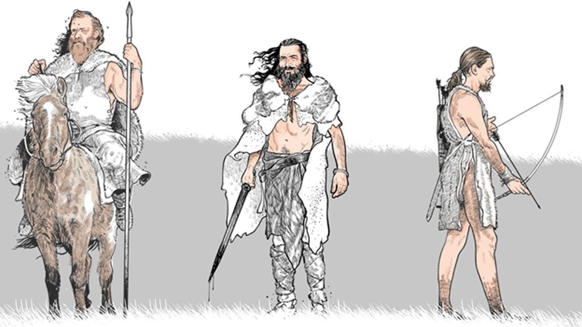 Antiguos guerreros del norte de Europa equipados para la batalla. (Science Mag)