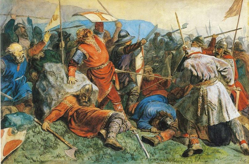 Ejército vikingo en plena batalla (Dominio público)