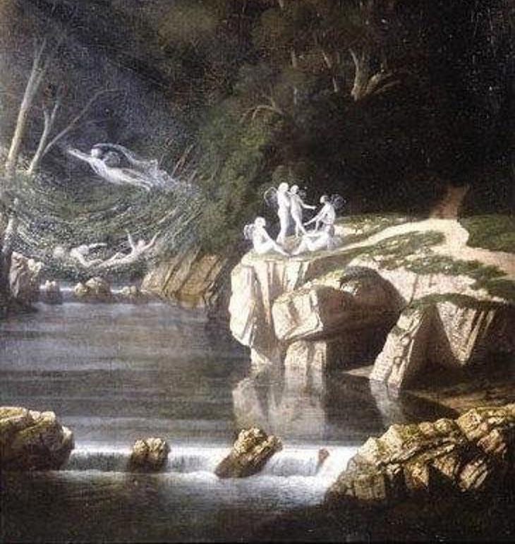 """El guerrero Midir vivía entre los sidhe, la raza de hadas que habitaba Irlanda. """"Hadas"""", por Francis Danby, 1840 (Wikimedia Commons)"""