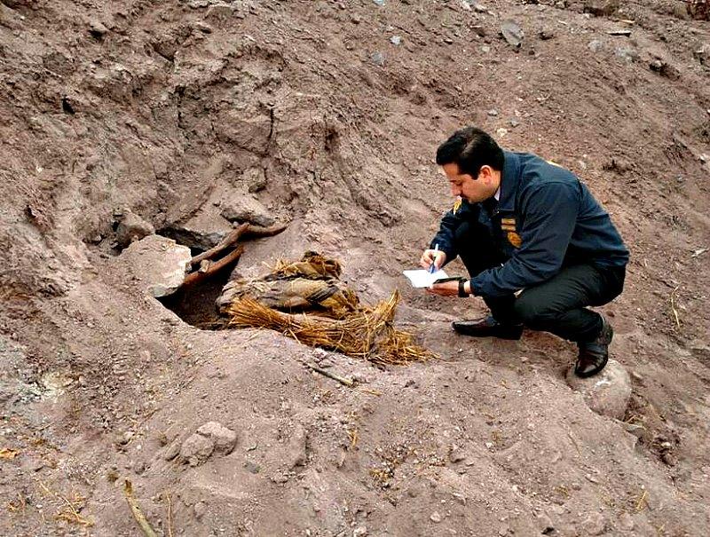 Funcionarios de la Brigada Investigadora de Delitos Contra el Medio Ambiente y el Patrimonio Cultural junto a los restos humanos precolombinos descubiertos recientemente en Atacama. (Fotografía: SoyChile/Diario Atacama)
