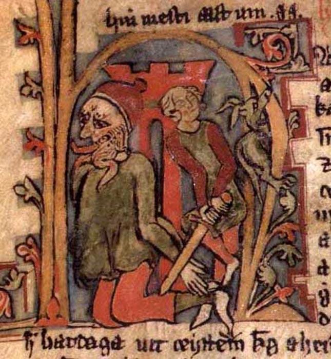 Ilustración del rey Harald en un manuscrito medieval. (Public Domain)