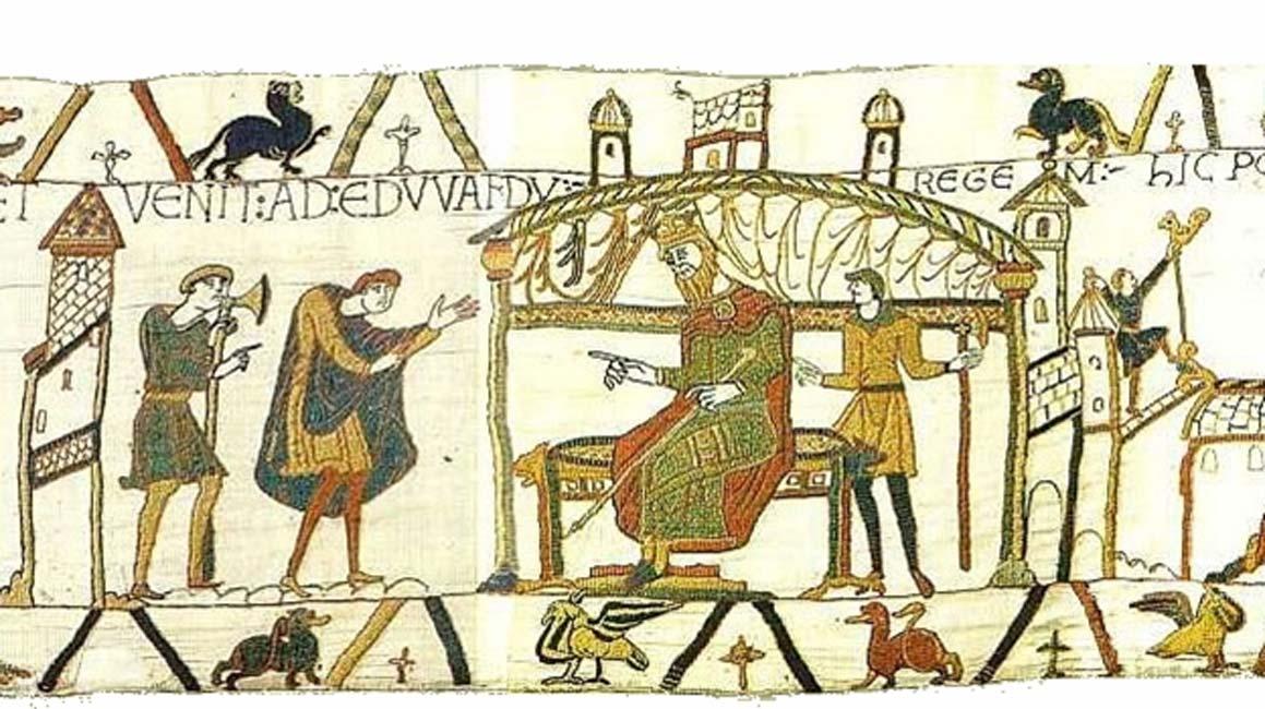 Harold se reúne con Eduardo poco antes de la muerte de este último. Escena 25 del Tapiz de Bayeux. (Dominio público)