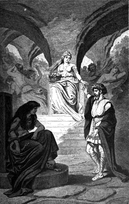 """Heimdall solicita el regreso de Iðunn del Inframundo"" (1881), ilustración de Carl Emil Doepler. (Public Domain)"