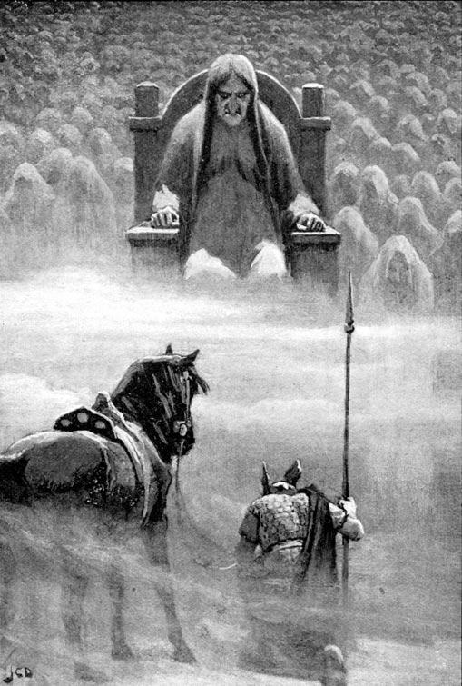 """""""Hemrod ante Hel"""" (1909), ilustración de John Charles Dollman. (Public Domain)"""