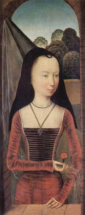 Mujer joven con un 'hennin' cónico con toca de terciopelo negro y velo transparente en la punta (Public Domain)
