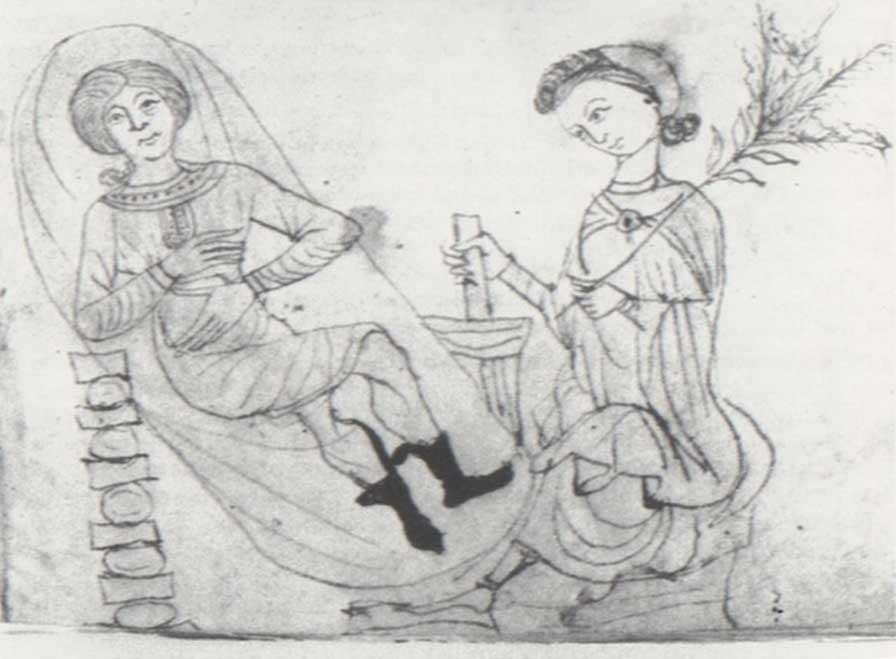 Dibujo de un manuscrito del siglo XIII del herbario de Pseudo-Apuleyo en el que podemos ver a una mujer embarazada en reposo junto a otra con una rama de menta poleo en una mano mientras prepara un brebaje con un mortero y una maja con la otra. La menta poleo era utilizada en el pasado como hierba abortiva. (Dominio público)