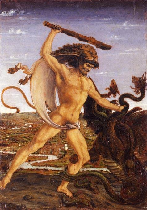 Hércules y la Hidra, c. 1475, Galería Uffizi (Public Domain)