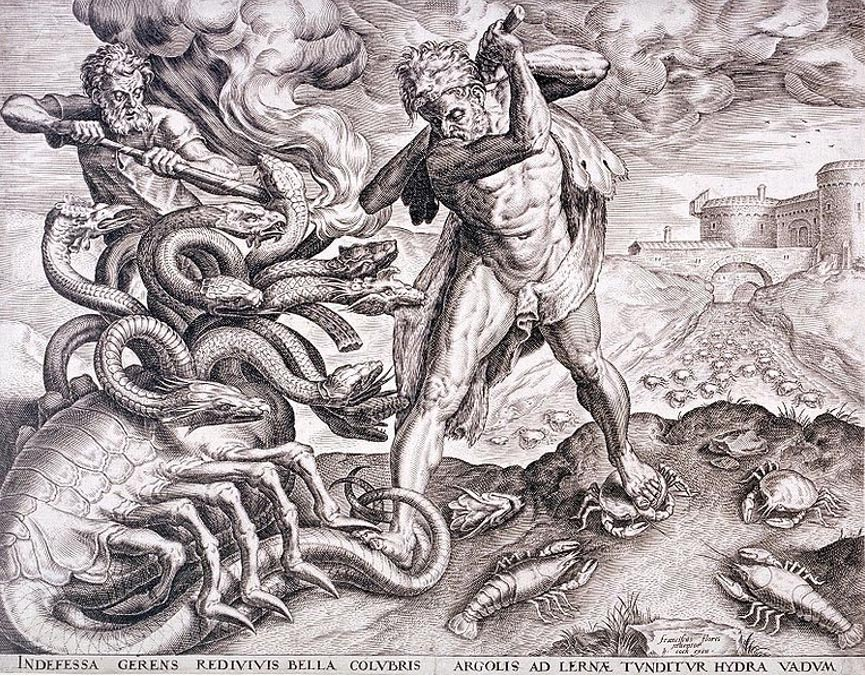 El conductor del carro de guerra de Hércules abrasa los muñones de la Hidra para impedir que se regeneren sus cabezas (Public Domain)