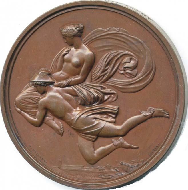 Hermes desciende del monte Olimpo con Pandora en sus brazos y llevando su sombrero de viajero. (Medalla basada en un diseño de John Flaxman). (Dominio público)