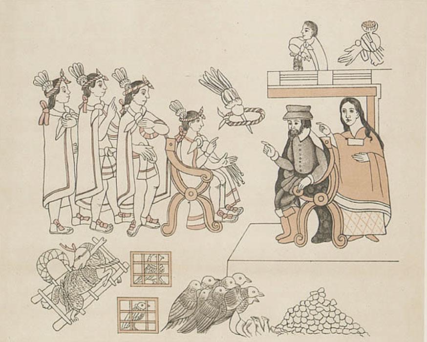 Hernán Cortés y La Malinche conversan con Moctezuma II y sus ministros en Tenochtitlán. (8 de noviembre de 1519). (Public Domain)