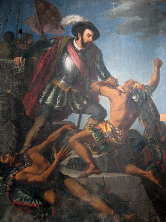 Hernan Cortés luchando con dos indios (1863), óleo de Antonio Gómez Cros (Wikimedia Commons)