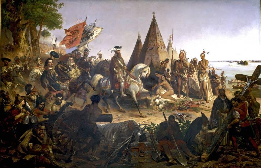 Hernando de Soto conquista el Mississippi. Pintura de la rotonda del Capitolio de Washington, Estados Unidos. (Public Domain)