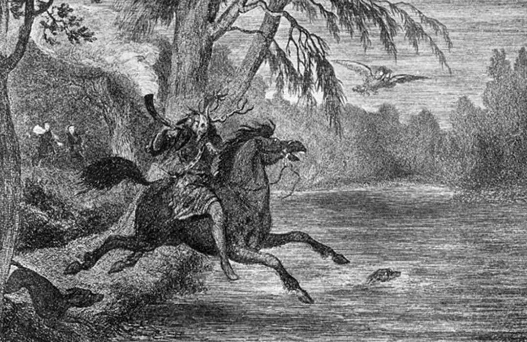 Ilustración de Herne el cazador obra de George Cruikshank (década de 1840). (Dominio público)