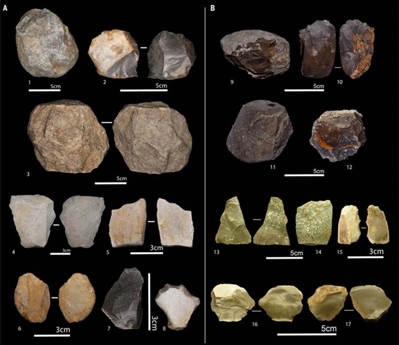 Herramientas de piedra olduvayenses entre las que hay: tallas unifaciales en piedra caliza (1 al 9); tallas bifaciales en piedra caliza (10) y en sílex (2); tallas poliédricas en piedra caliza (11 y 12); tallas subesféricas en piedra caliza (3); escamas completas de sílex (7, 16 y 17) y de caliza (4, 5, 6, 13 y 14); y piezas de sílex retocadas (8 y 15). (Sahnouni, M. et al)
