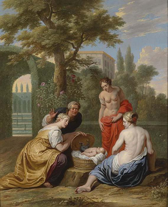 Las hijas de Cécrope encuentran al pequeño Erictonio. (Feldkurat Katz/Dominio público)
