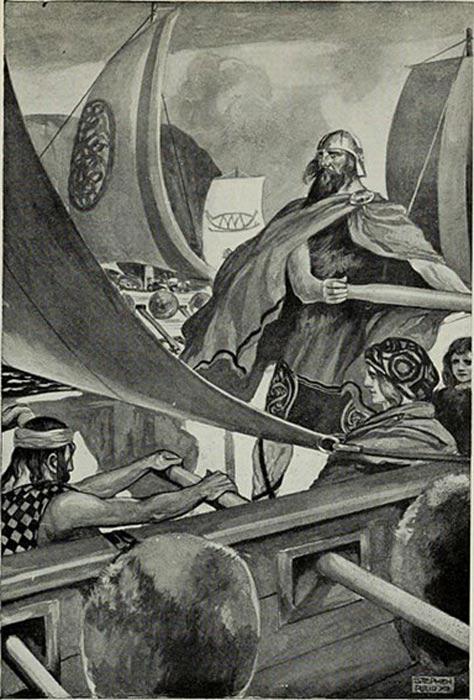 'La llegada de los hijos de Miled', ilustración de T.W. Rolleston para el libro 'Mitos y leyendas: la raza céltica' (1910). (Wikimedia Commons)