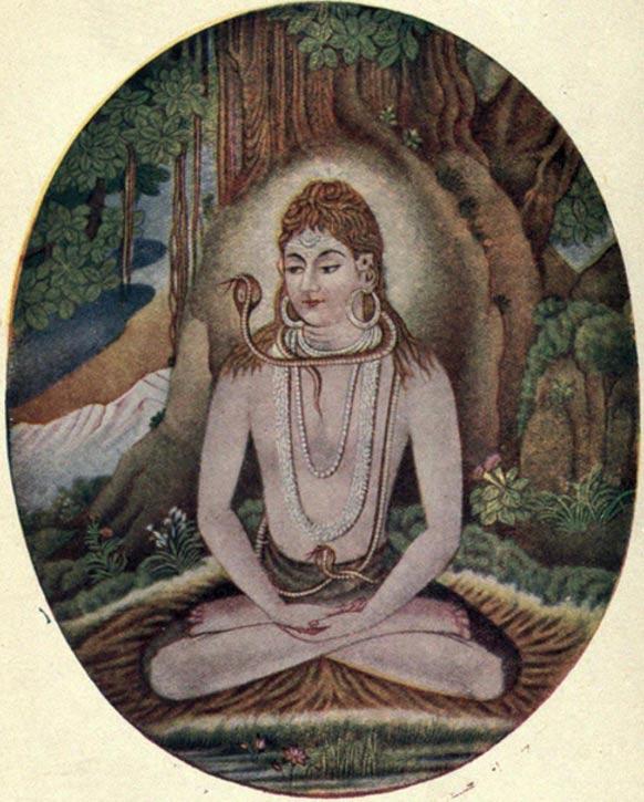 El dios hindú Shiva en postura de meditación típica del yoga (Wikimedia Commons)