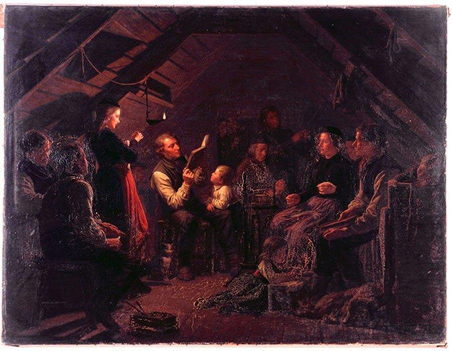Kvöldvaka (reunión nocturna) en un hogar islandés, óleo de August Schiøtt (1823 - 1895) (Imagen original)