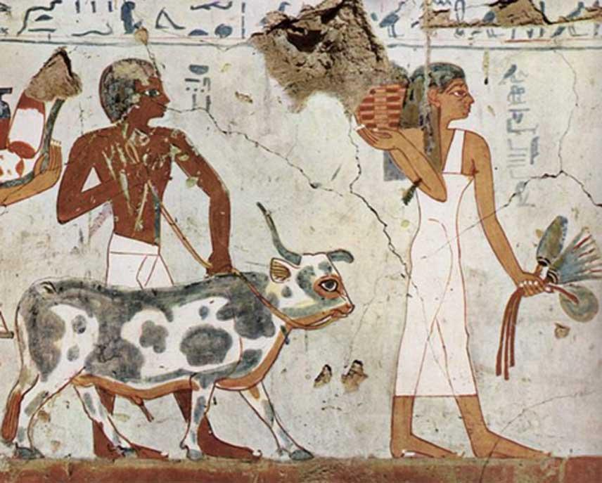 Mujer y hombre del antiguo Egipto (circa 1500 a. C. – 1450 a. C.) (Dominio público)