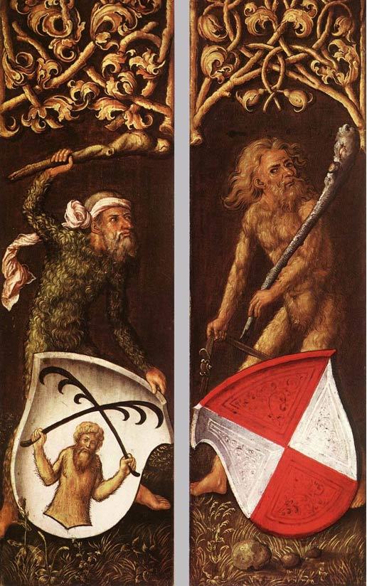 """Paneles laterales del retrato de Oswald Krell, pintado por Durero en 1499, en el que aparecen dos """"Hombres Silvanos"""", o """"hombres de los bosques."""" (Wikimedia Commons)"""