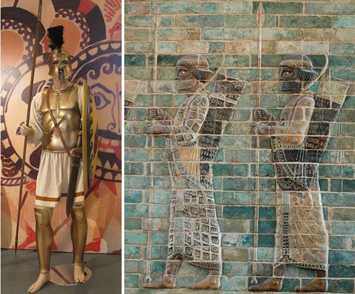 Hoplita ateniense (Tilemahos Efthimiadis/CC BY SA 2.0) y guerreros persas. (Public Domain)