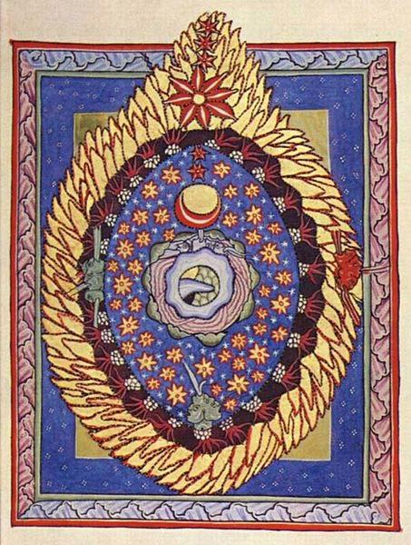 Ilustración de Hildegard von Bingen: 'Huevo cósmico ardiente.' (Dominio público)