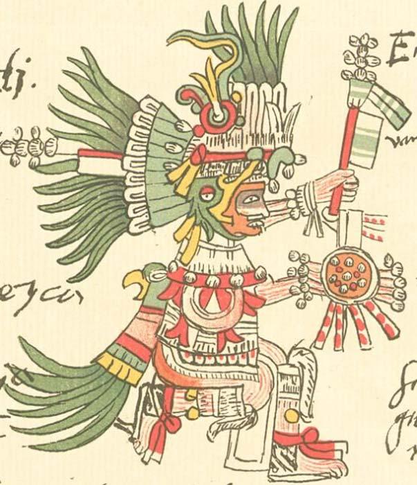 Huitzilopochtli tal y como aparece representado en el Codex Telleriano-Remensis. (Dominio público)