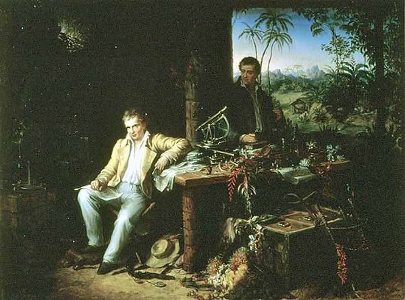 Alexander von Humboldt y Bonpland en la selva amazónica del río Casiquiare, (c. 1850). Óleo de Eduard Ender. Academia de Ciencias de Berlín, Alemania. (Public Domain)
