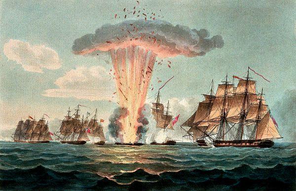 Ilustración de 1804 que refleja el momento en el que es alcanzada la santabárbara y se produce la explosión de la fragata Nuestra Señora de las Mercedes en el transcurso de la Batalla del Cabo de Santa María. (Wikimedia Commons)