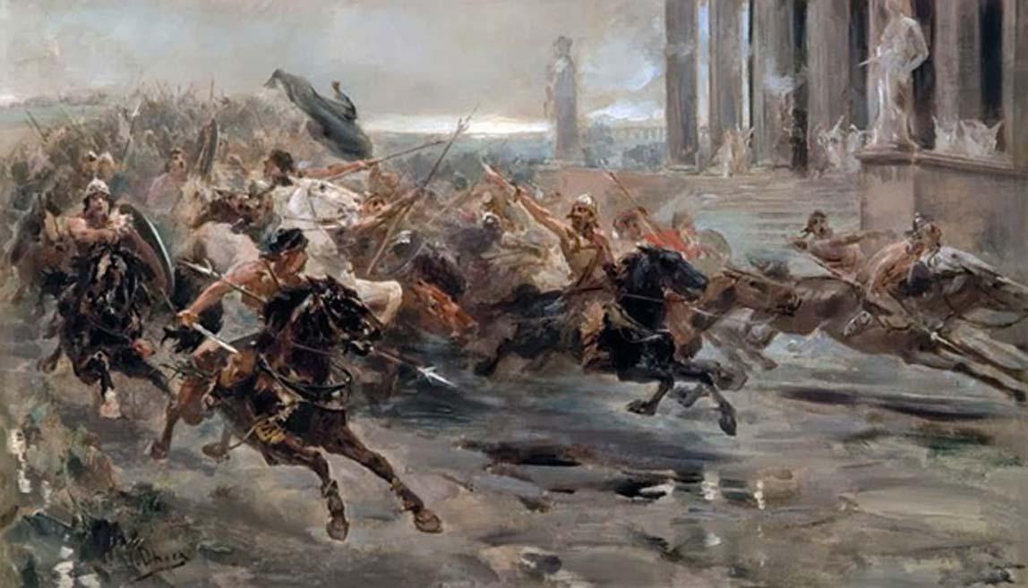 """""""Invasión de los Bárbaros"""" o """"Entrada de los hunos en Roma"""", óleo de Ulpiano Checa. (Public Domain)"""