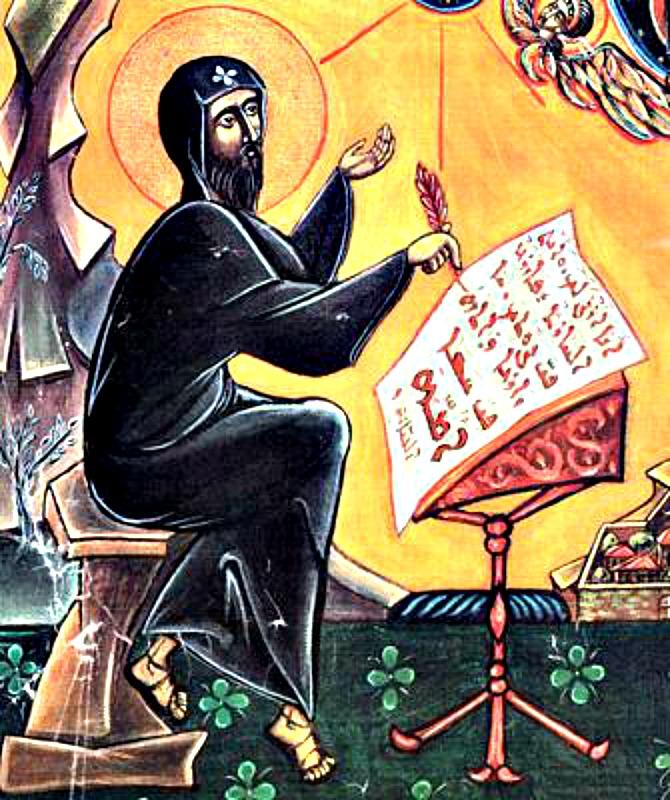 Una de las primeras referencias a la celebración de Todos los Santos aparece en un sermón de San Efrén el Sirio del año 373. Icono medieval –autor y fecha desconocidos- de San Efrén el Sirio. (Public Domain)