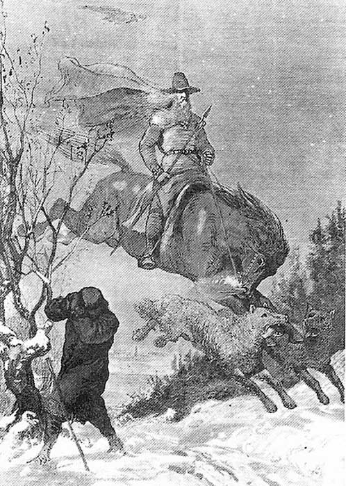 Ilustración de la Cacería Salvaje de Odín obra de August Malmström. (Dominio público)