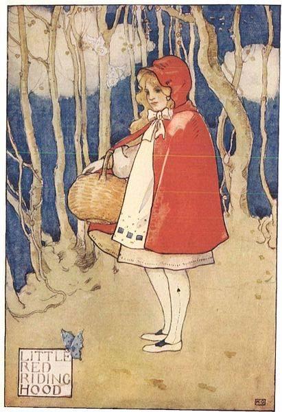 """""""Caperucita Roja"""", ilustración de """"Childhood's Favorites and Fairy Stories"""", recopilación de cuentos de hadas en lengua inglesa de principios del siglo XX. (Dominio público)"""