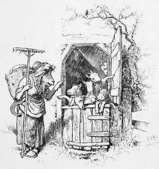 """Ilustración de """"El lobo y los siete cabritillos"""" – una variante del cuento de """"Caperucita Roja"""". (Dominio público)"""