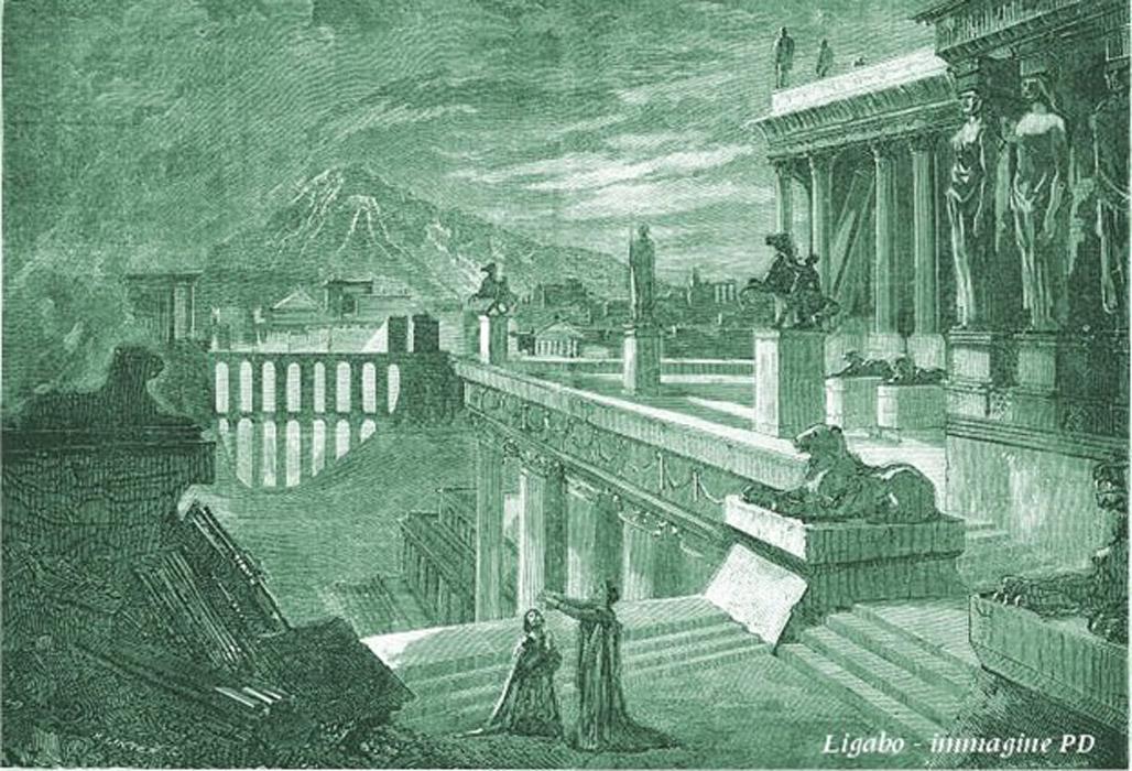 Imaginativa ilustración de la ciudad de Herculano realizada en 1859. (Public Domain)