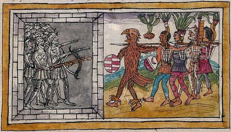 Ilustración de la 'Historia de las Indias de Nueva España e islas de la tierra firme' (1579) escrita por Diego Durán en la que podemos observar un combate entre aztecas y conquistadores españoles. (CC BY SA 4.0)