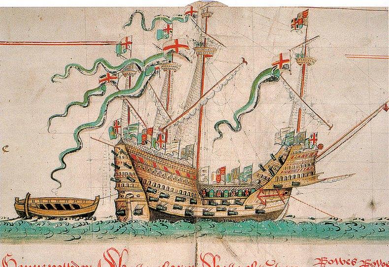 Ilustración del Mary Rose realizada en torno al año 1546, de The Anthony Roll of Henry VIII's Navy, Biblioteca Pepys 2991 y manuscrito adicional 22047 de la Biblioteca Británica, junto con otros documentos relacionados ISBN 0-7546-0094-7, pág. 42. (Public Domain)