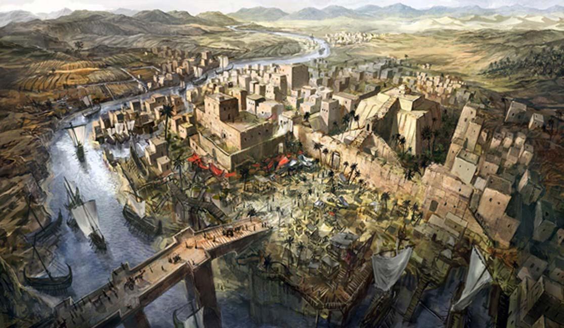 Ilustración de la antigua Mesopotamia (Jeff Brown Graphics)