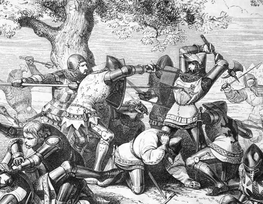 Ilustración del siglo XIX de la muerte de Robert Bemborough durante el Combate de los Treinta, 1351; 'Guerra Bretona de Sucesión', Paul Philippoteaux (Dominio público)